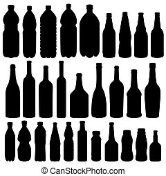 -, vettore, silhouette, bottiglia, collezione