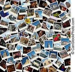 -, viaje, ir, plano de fondo, señales, europeo, fotos, ...