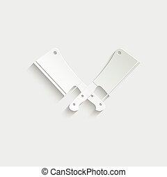 -, viande, icône, vecteur, couperet, couteau papier