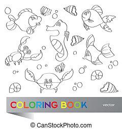-, vida, colorido, marina, libro