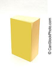 -, vide, couverture, isolé, jaune, ajouter, livre, texte, ton