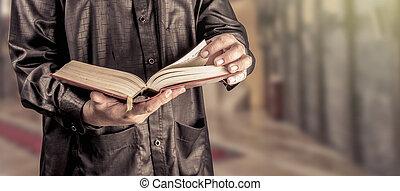 -, .vintage, filtre, saint, musulmans, homme, sombre, coran, livre