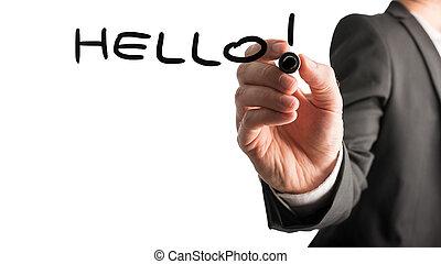 -, virtuel, écriture, interface, bonjour, homme