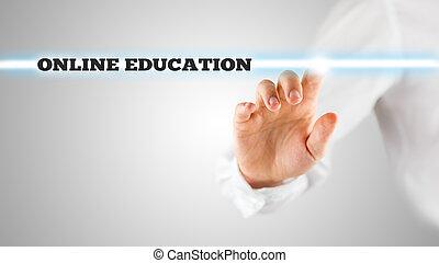 -, virtuel, mots, ligne, interface, education