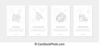 -, virus, mobil, lodräta banér, vektor, bakterie, fyra, 01