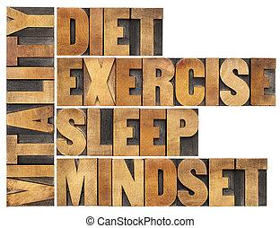 -, vitaliteit, dieet, slaap, oefening, denkrichting