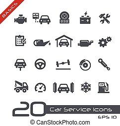 --, voiture, élémentsessentiels, service, icônes