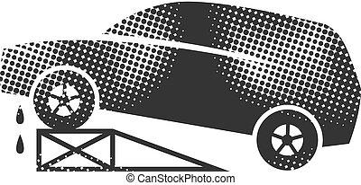 -, voiture, halftone, icône, réparations