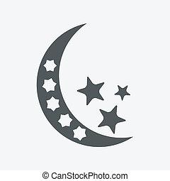 -, vrijstaand, maan, vector, sterretjes, nacht, pictogram