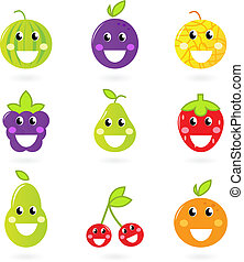 -, vrijstaand, verzameling, fruit, negen, witte , pictogram, fruitig, mascots
