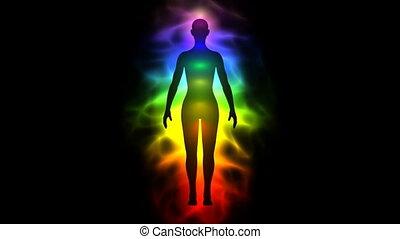 -, vrouw, silhouette, aura, chakras