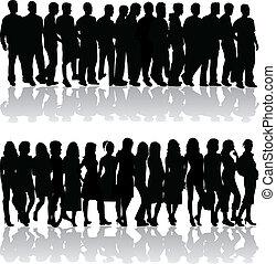 -, vrouwen, mannen, groep, mensen
