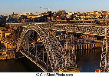 -, vue, luis, rivière, porto, dom, pont, sur, douro, portugal.