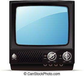 -, vue, vide, ensemble, écran, devant, tv, tã©lã©viseur, retro, vendange