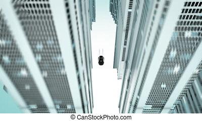 -, wóz, miasto, ożywienie, futurystyczny, 3d