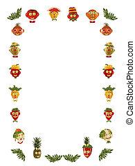 -, warzywa, twarze, robiony, frame., różny, owoce