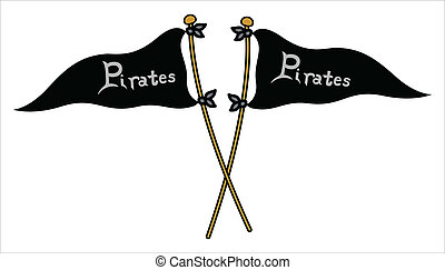 -, wektor, bandery, pirat, krzyżowany