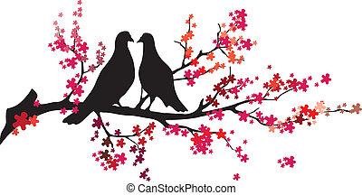-, wektor, drzewo, ptaszki