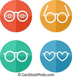 -, wektor, komplet, ilustracja, okulary
