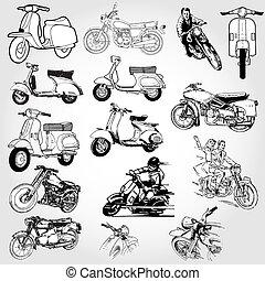 -, wektor, komplet, motocykl