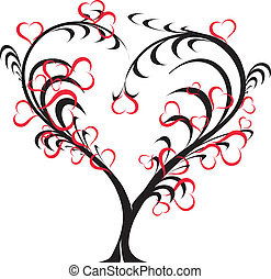 -, wektor, miłość, drzewo