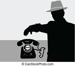 -, wektor, sylwetka, człowiek, telefon