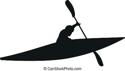 -, wektor, sylwetka, kayaker