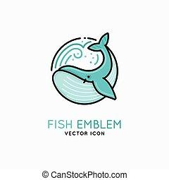 -, wektor, wieloryb, logo, emblemat, linearny