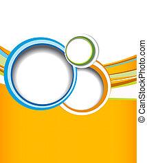 -, welle, flieger, grüner hintergrund, orange, design, kreis