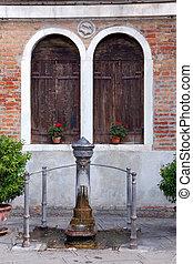 -, wenecja, fontanna, włochy, prospekt