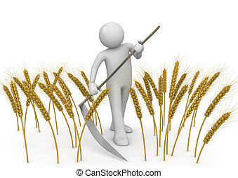 -, werkmannen , landbouw, verzameling, maaier