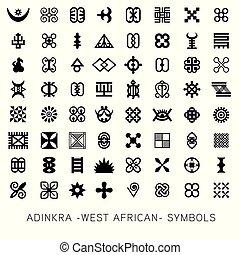 -west, vecteur, african-, adinkra, akan, symboles, ensemble