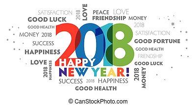 -, wigilia, rok, 2018, rok, nowy, szczęśliwy