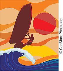 - , windsurfing , κύμα