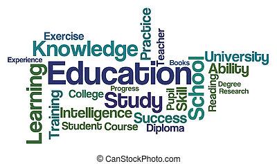 -, witte , woord, wolk, opleiding, achtergrond
