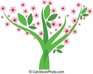 -, wizerunek, wektor, drzewo, kwiaty