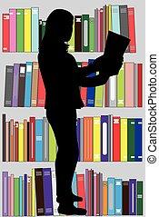 -, woman., silhouette, bibliotheek