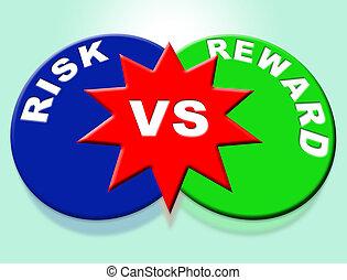 -, woorden, depicts, verantwoordelijkheid, strategie, vs, belonen, succes, het verkrijgen, illustratie, gevaren, 3d
