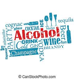 -, woorden, wolk, alcohol