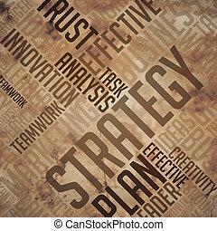 -, wordcloud, grunge, concept., strategia