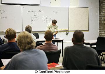 -, wykształcenie, elektryczny, dorosły, objazd