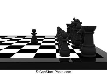 -, xadrez, 3d