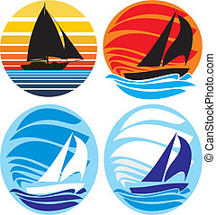 -, yacht, sonnenuntergang, segeln, meer
