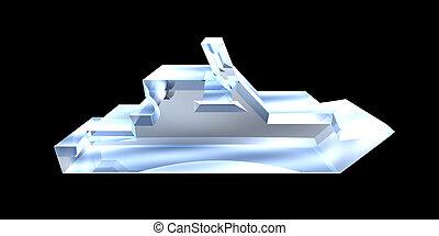 -, yacht, vetro, fondo, bianco, icona, 3d