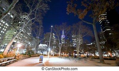 -, york, manhattan, stoły, grudzień, skwer, miasto, nowy, ...