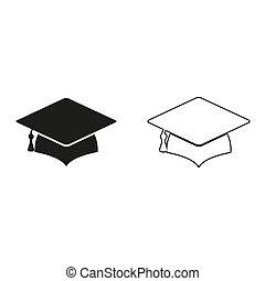 -, zöld, vektor, graduation kivezetés, ikon