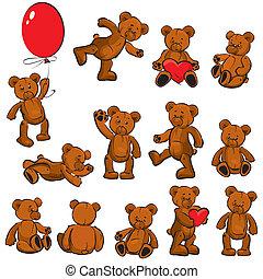 -, zacht, set, speelgoed, teddy, ouderwetse
