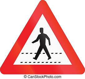 -, zeichen, fußgänger, warnung, überfahrt, straße, belgischen