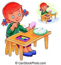 Sorglose kinder malen einen regenbogen der farben. Vector