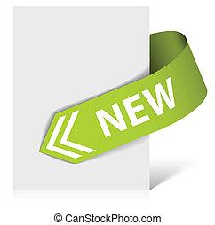-, zielony, strzała, róg, nowy, wstążka
